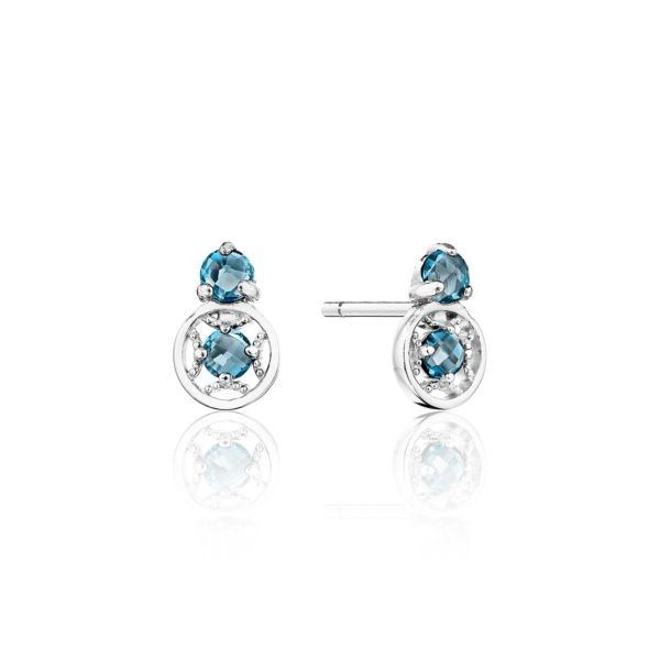 Petite Gemstone Earrings with London Blue Topaz