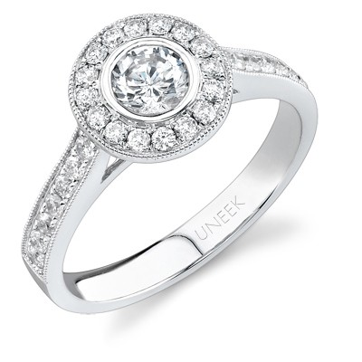 Bouquet Collection 18K White Gold Halo and Milgrain Diamond Engagement Ring SW103