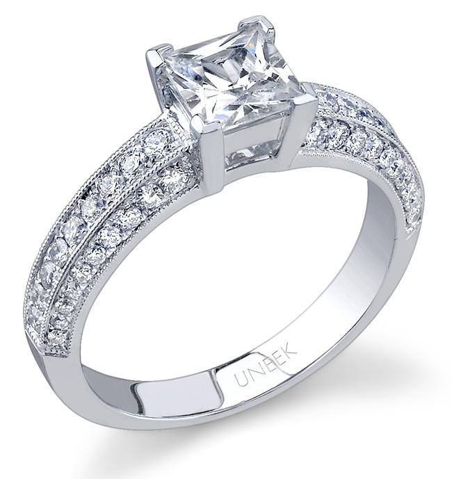 Bouquet Collection 18K White Gold Princess-Cut Diamond Engagement Ring SW120