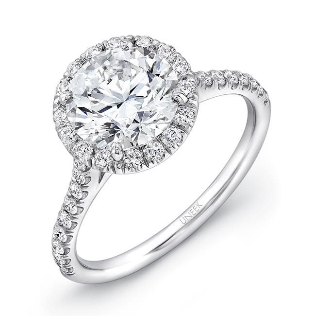 Uneek Round Halo Diamond Engagement Ring LVS897