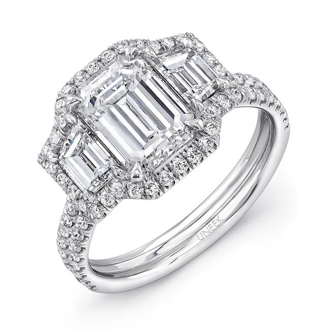 Uneek Three Stone Emerald Diamond Engagement Ring
