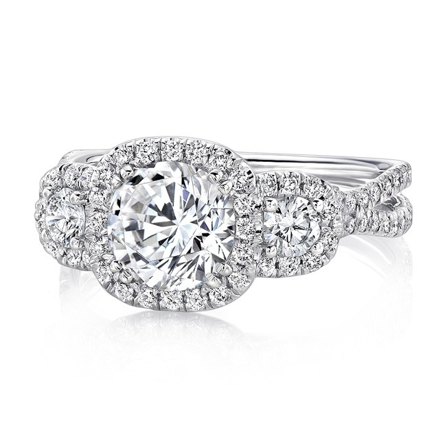 Uneek Three-Stone Round Diamond Engagement Ring with Cushion-Shaped Halos and Pave Double Shank, in