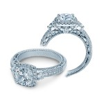 Verragio Three Stone Halo Pave Diamond Engagement Ring