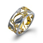 14Karat White and Yellow Gold Right Hand Cocktail Ring .20D