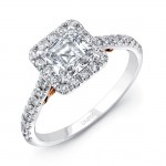 "Uneek ""Fiorire"" Princess-Cut Diamond Engagement Ring with Square Halo and Pave Shank in 14K White Go"