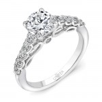 "Uneek ""Serpentina"" Round Diamond Solitaire Engagement Ring with Shared-Prong Shank and Under-the-Hea"
