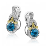 18K GOLD YELLOW & WHITE LE4545 COLOR EARRING