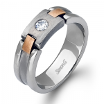 18K WHITE & ROSE GOLD, WITH WHITE DIAMONDS. LP2078 - MEN RING
