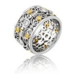 Natureal Collection White & Yellow Diamonds Platinum and 18K Yellow Gold Band LVB050