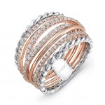 """Uneek """"Teneriffe"""" Diamond Band with Infinity-Style Braid Edges, in 14K Two-Tone Gold"""