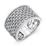 """Uneek """"Point D'Esprit"""" Diamond Band with Rope Milgrain Edges, in 14K White Gold"""