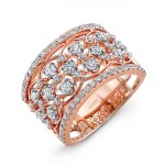 "Uneek Vintage-Style ""Rose Garland"" Open Lace Diamond Band in 14K Rose Gold"