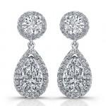 Uneek Pear-Shaped Diamond Drop Earrings, in Platinum