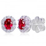 Uneek Oval Ruby Stud Earrings with Scalloped Diamond Halos, in 14K White Gold