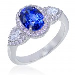 Uneek Three-Stone Oval Blue Sapphire and Pear-Shaped Diamond Halo Ring in 14K White Gold