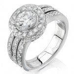 Uneek 18K White Gold Round Diamond Halo 3 Split Shank Engagement Ring LVS097