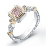 Natureal Collection Platinum Pink Radiant Diamond Ring LVS291