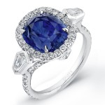 Saphisto Collection Platinum Sapphire Cushion Diamond Ring LVS621
