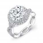 Halo Twist Shank 18K White Gold Round Diamond Semi Mount LVS842