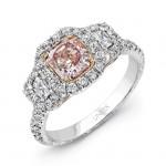 Uneek 18K White Gold Three Stone Cushion Diamond Halo Engagement Ring-LVS905