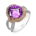 Elegant Zeghani Amethyst and Diamont Tri-tone Ring