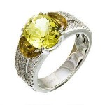 Beautiful Zeghani Lemon Quartz and Coniac Fashion Ring
