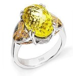Stunning Zeghani Lemon Quartz and Diamond Ring