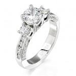Uneek 18K White Gold Three-Stone Round Diamond Engagement Ring SM471