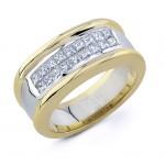 Uneek 18K White and Yellow Gold Princess-Cut Diamond Men's Band WB075