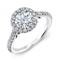 "Uneek ""Fiorire"" Round Diamond Halo Engagement Ring with Pave Shank and Under-the-Head Filigree, in 1"