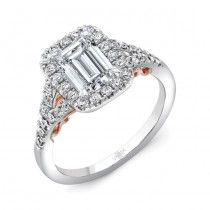 "Uneek ""Cancelli"" Emerald-Cut Diamond Halo Engagement Ring with Pave Split Shank in 14K White Gold, a"