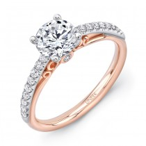 "Uneek ""Naiade"" Round Diamond Solitaire Engagement Ring with Pave Upper Shank in 14K White Gold, and"