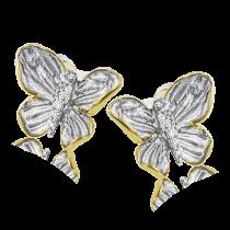 18K YELLOW & WHITE GOLD, WITH WHITE DIAMONDS. DE271-G - EARRING