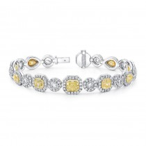 Natureal Collection Platinum and 18K Yellow Gold Fancy Yellow Diamond Bracelet LBR098