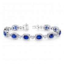 Uneek Cushion-Cut Sapphire Bracelet with Diamond Bezel Stations, in 18K White Gold
