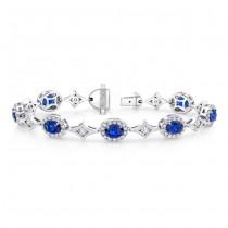 Uneek Oval Sapphire Bracelet with Channel-Set Diamonds in Elegant Rhomboid Links, in 18K White Gold