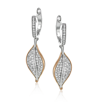 18K WHITE & ROSE GOLD, WITH WHITE DIAMONDS. LE4469 - EARRING