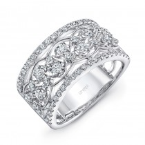 """Uneek Edwardian-Inspired """"Rose Garland"""" Open Lace Diamond Band in 14K White Gold"""