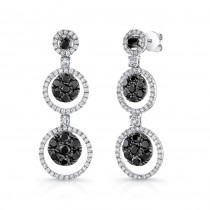 14K White Gold Black Round Shaped Diamond Earrings LVE024BL