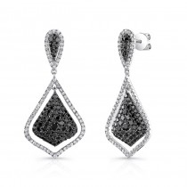 14K White Gold Black Shield Shaped Diamond Earrings LVE026BL