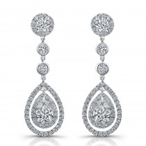 Uneek Pear-Shaped Diamond Dangle Earrings, in Platinum