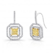 Natureal Collection 18K White & Yellow Gold Radiant Yellow Diamond Earrings LVE256