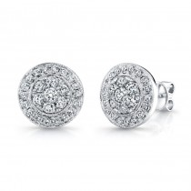 14K White Gold Round Diamond Stud Earrings LVE291