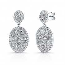 Bouquet Collection 14K White Gold Oval Shaped Diamond Dangle Earrings LVE298