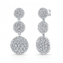 Bouquet Collection 14K White Gold 3 Round Clusters Diamond Dangle Earrings LVE299