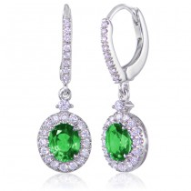 Uneek Oval Emerald Dangle Earrings with Pave Diamond Halos, in 14K White Gold