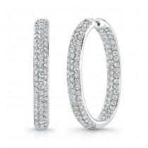 18K White Gold Diamond Hoop Earrings LVES01