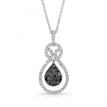 14K White Gold Black Pear Shaped Diamond Pendant LVN009BL