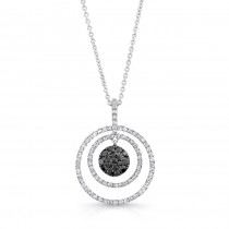 14K White Gold Black Round Shaped Diamond Pendant LVN013BL