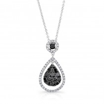 14K White Gold Black Pear Shaped Diamond Pendant LVN016BL
